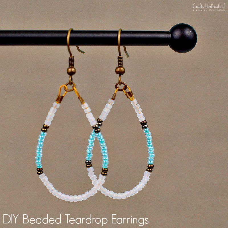 Diy Beaded Earrings Teardrop Tutorial Crafts Unleashed Beaded