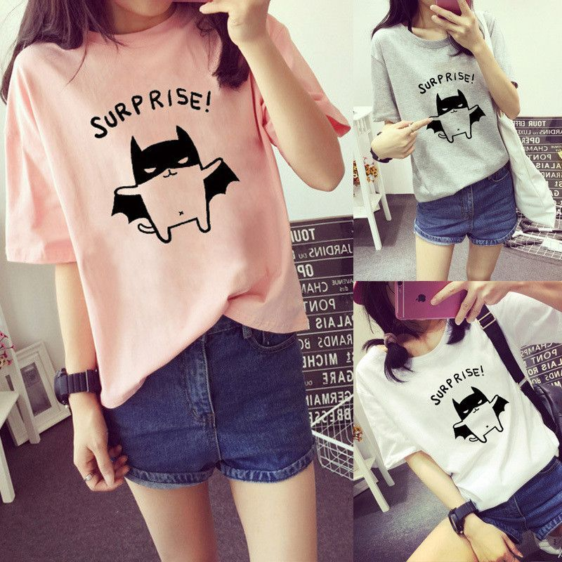Harajuku Japan Korean Kpop Style Fashion Ladies Womens Batman Surprise Tee T-Shirt
