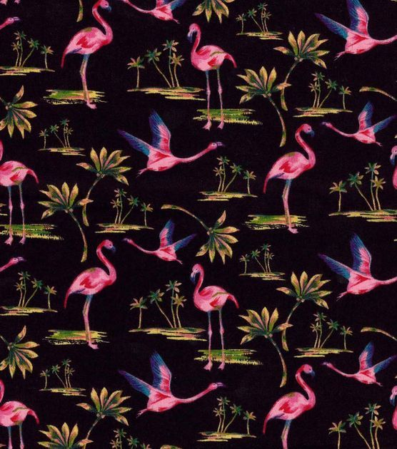 Tropical Fabric- Tossed Flamingos Black Cotton by JoAnn Fabrics