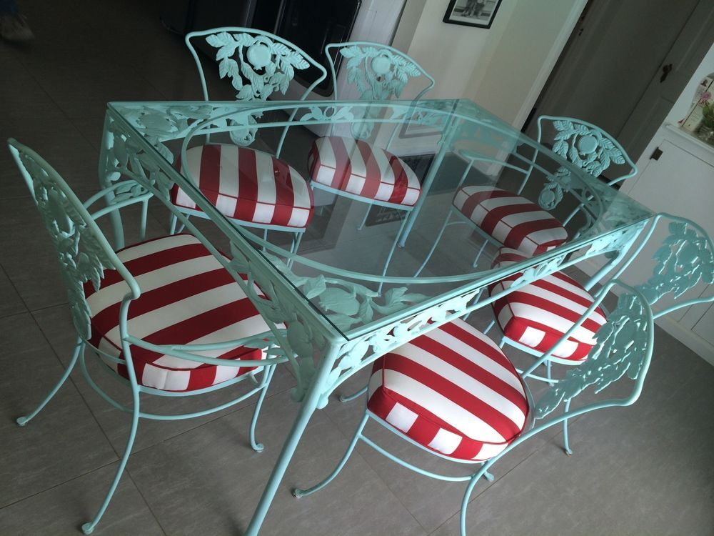 White Iron Table And Chairs Part - 26: Vintage WOODARD Turquoise Red White Iron Patio Furniture Set.Table 6 Charis  #Woodard