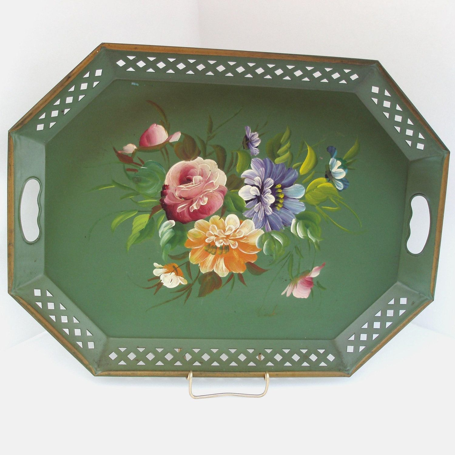 Vintage Large Tole Tray, Toleware Tray, 1940s Green Floral Hand Painted NashcoTray, Shabby Chic / Cottage Decor. $74.50, via Etsy.