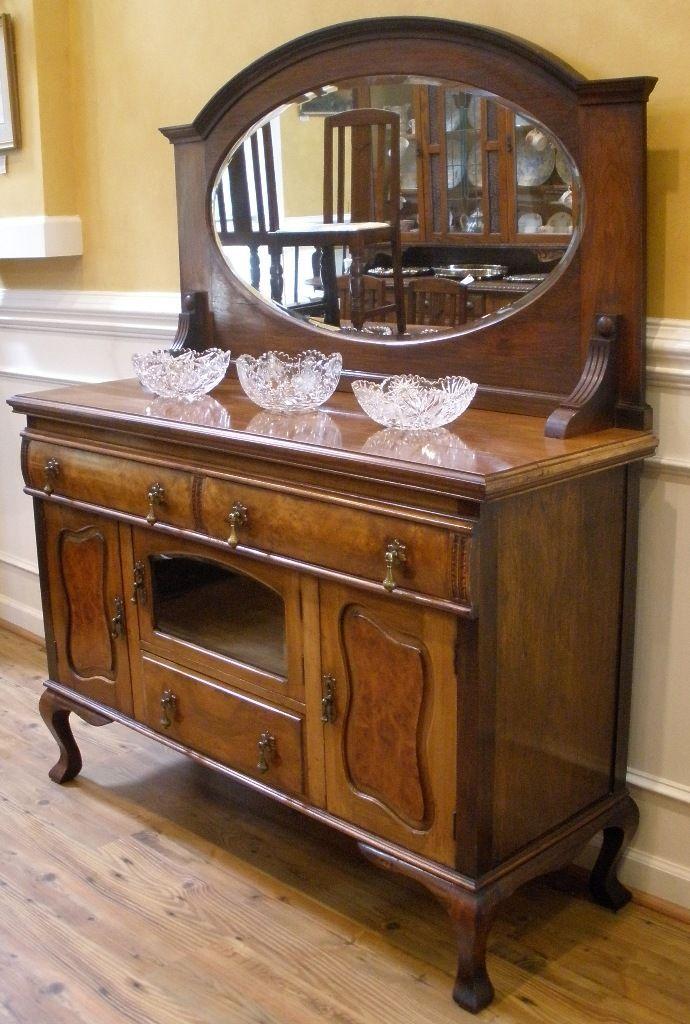 Antique English Walnut Art Nouveau Mirror Back Sideboard, Server, Buffet. - Antique English Walnut Art Nouveau Mirror Back Sideboard, Server