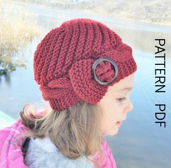 DIY Knitting PATTERN hat Instant Download Knit hat pattern 2- 6 Years Old  Girl Hat Digital Cable 4dfed40c45f