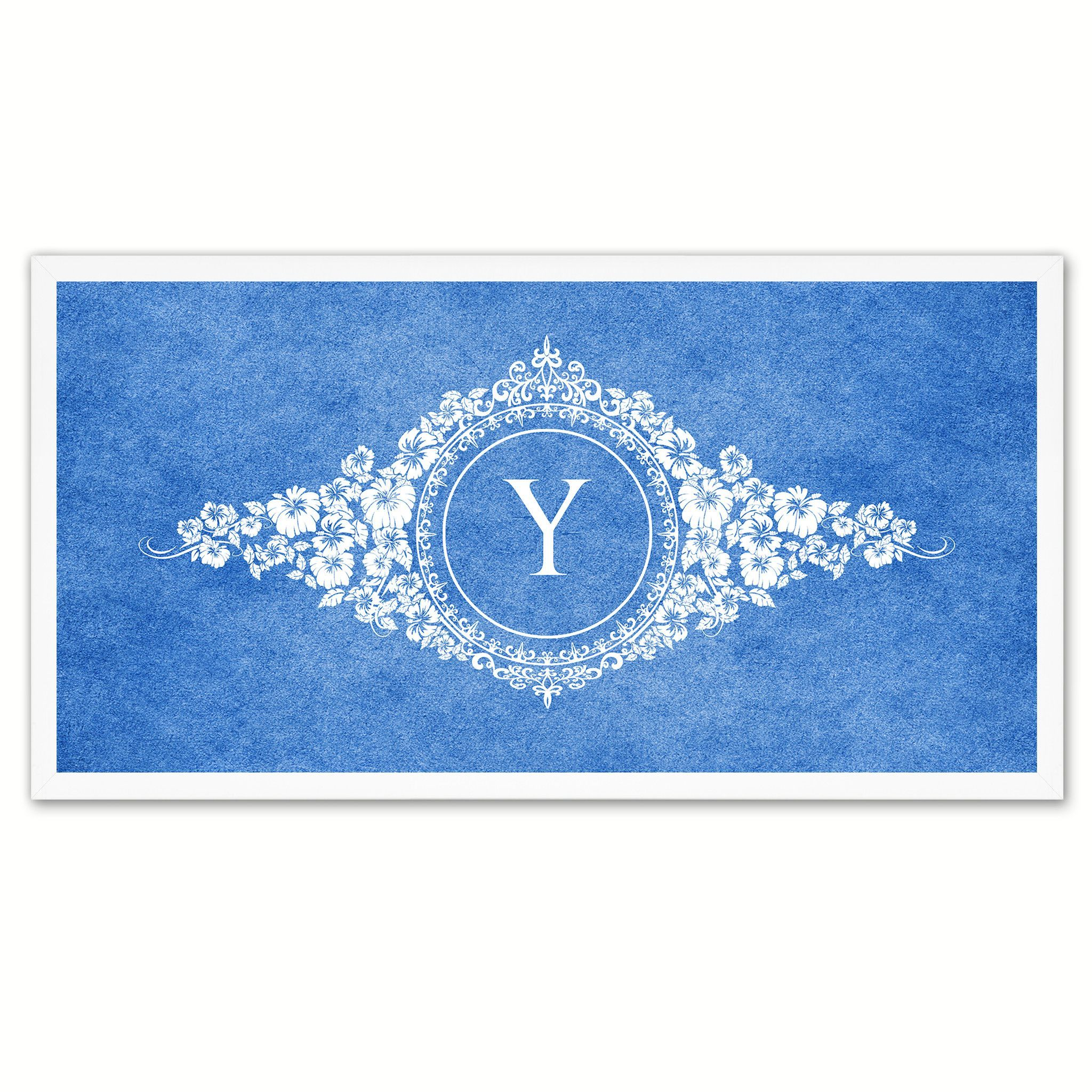 Alphabet Letter Y Blue Canvas Print White Frame Kids Bedroom Wall Décor Home Art