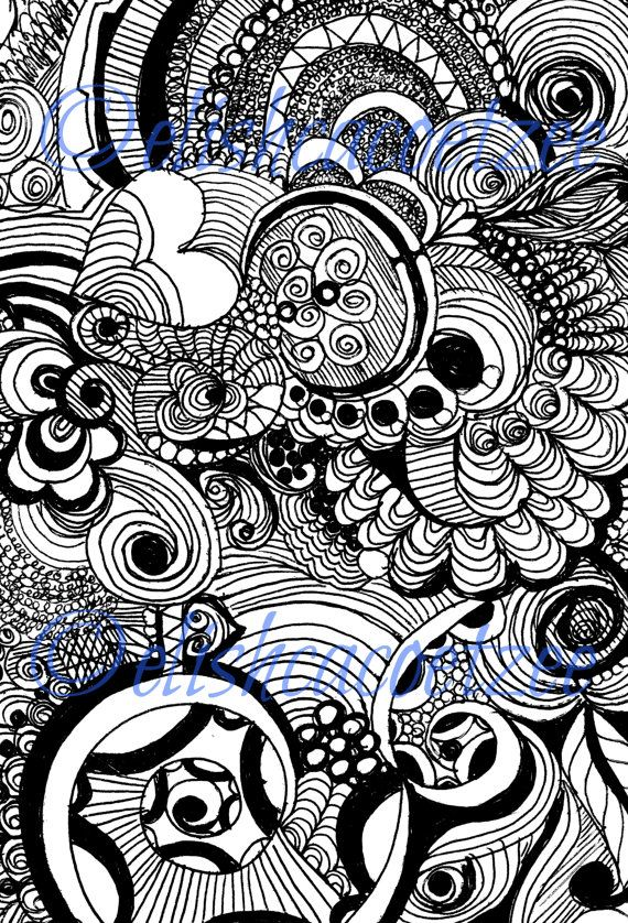 Instant PDF Amp JPEG Download Coloring Page Hand Drawn