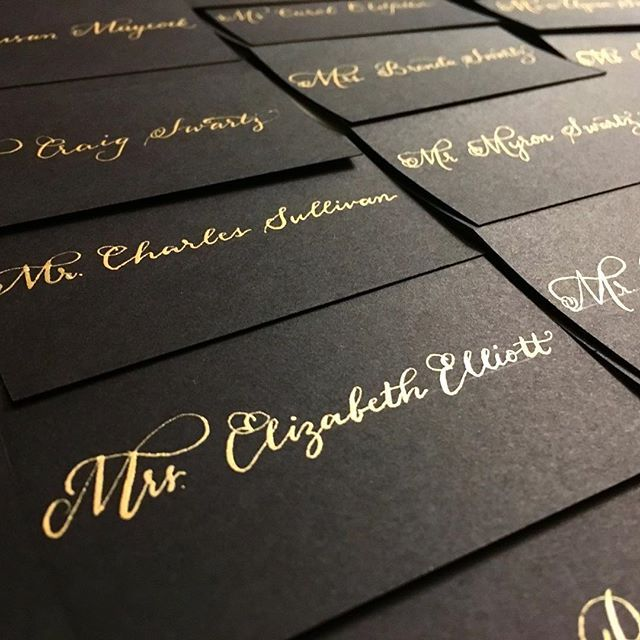 Black and gold place cards for days . . . . . .  #flourish #gold #flourishing #blacktie #SpiffyGetsMarried #black #blacktieaffair #blacktiebride #romantic #lovely #placecards #calligraphy #moderncalligraphy #weddingcalligraphy #weddingplanning #weddinginspiration #wedding #bostoncalligrapher #bridetobe #lovewins #lesbianbride #lgbtwedding #mrsandmrs #earnestbee