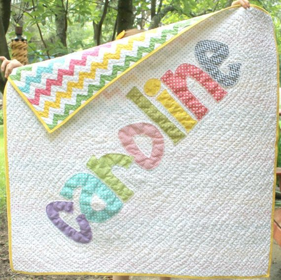Personalized Name Quilt, Appliqued Quilt, Monogrammed Baby Quilt ... : customized quilts - Adamdwight.com