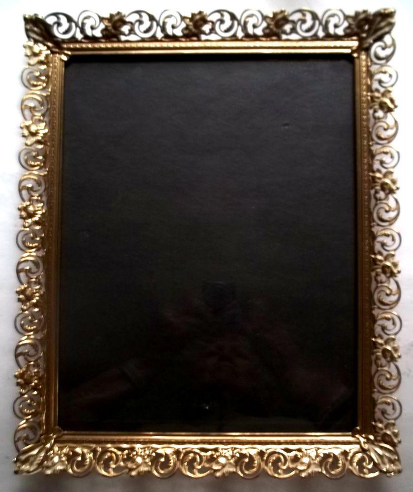 "Vintage Metal Whitewash Ornate Filigree Lace Picture Frame 11"" x14"" Hangs #shabbycottagechic"
