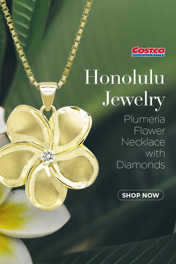 Honolulu Jewelry Plumeria Flower Necklace With Diamonds Flower