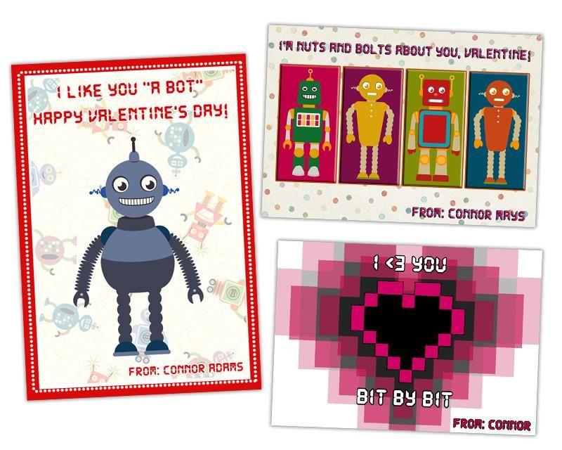 Retro Robot Valentine S Day Card Set Kids Valentines For Boys