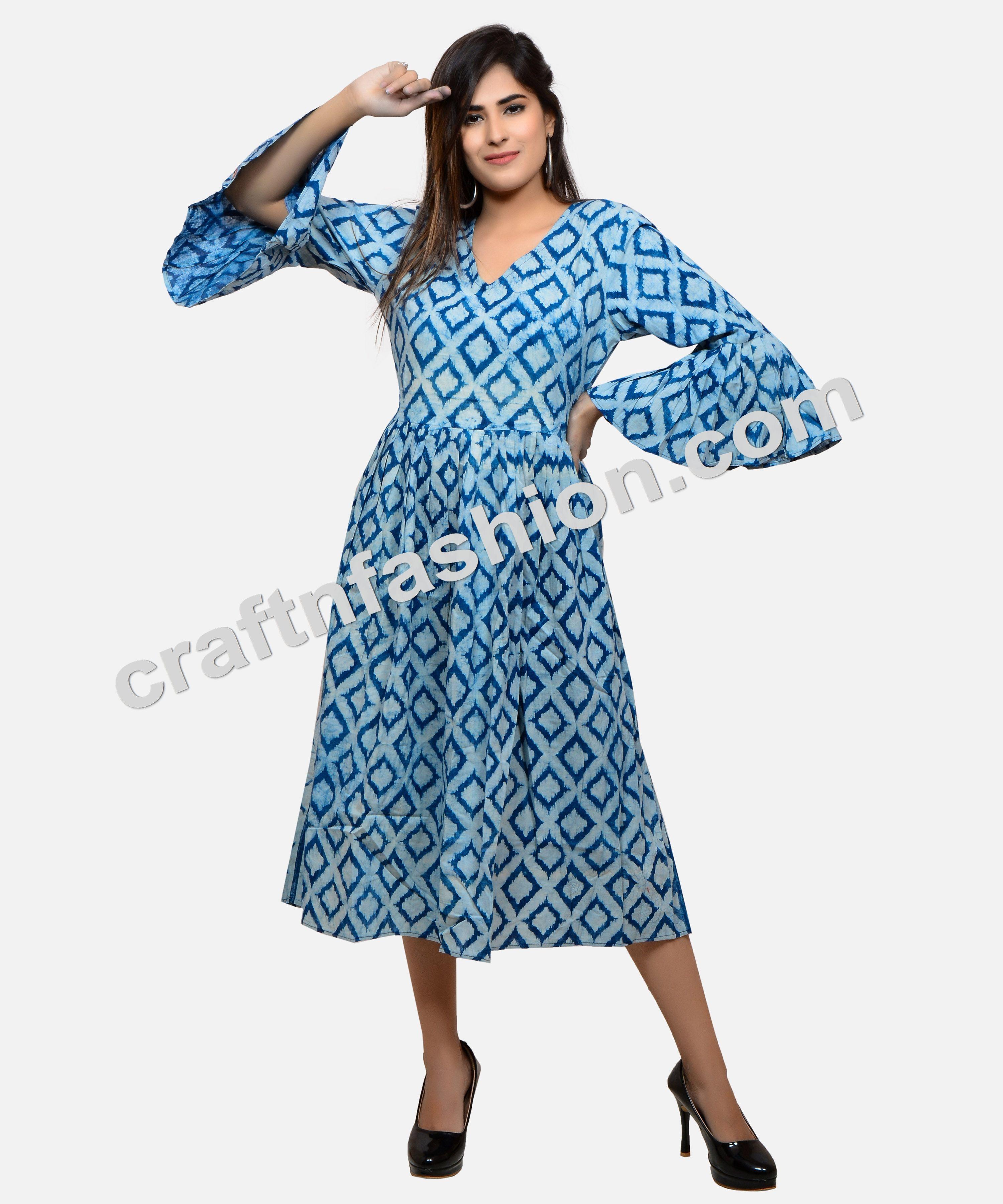 Indian Cotton Hand Block Print Kurti Designerdresses Indigodress Summerwear Umbrellasleeves Hand Indigo Maxi Dress Urban Style Dress Cotton Dress Pattern [ 3600 x 3000 Pixel ]