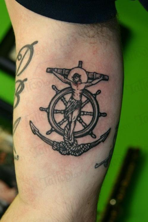 Wheel And Anchor Tattoo Idea