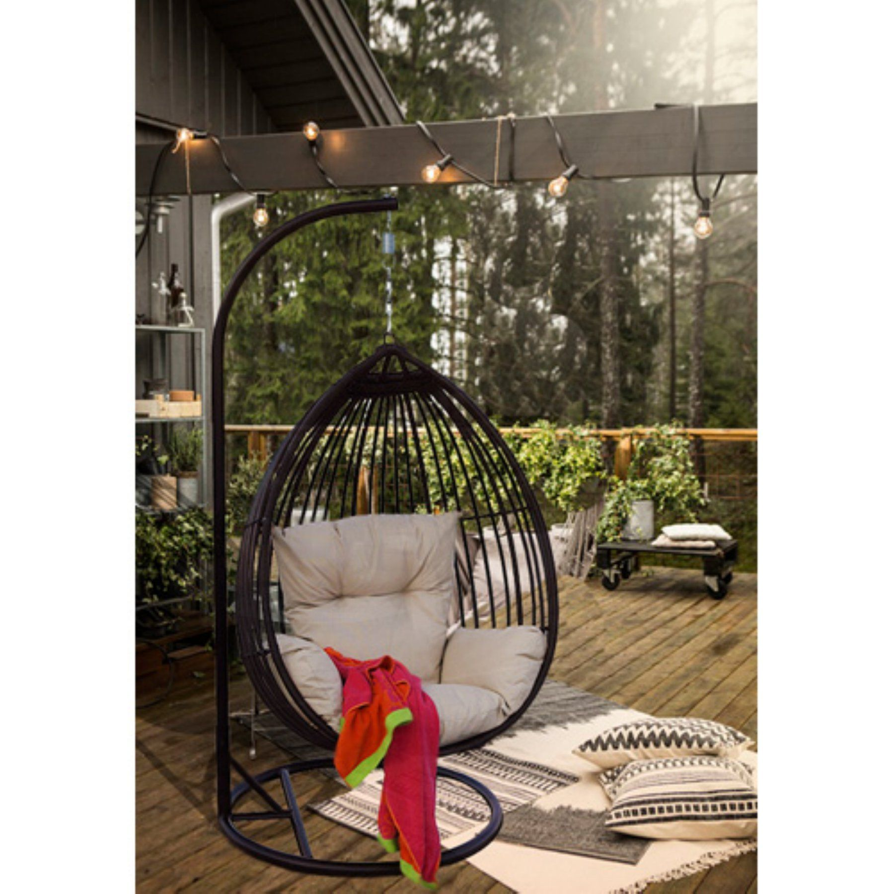 Darlee Valencia Porch Swing Chair   H201688           Swing Away Your  Stress With This Beautiful Charcoal Resin Wicker One Person Swing. The Swing  Comes ...