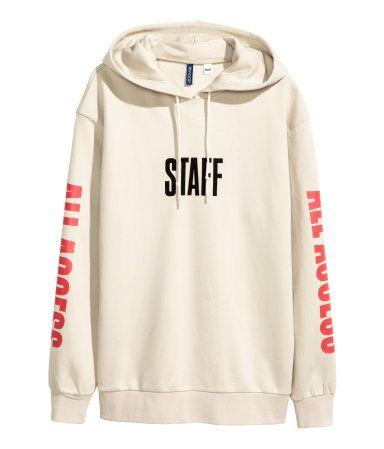 2136e6fc8369 Printed Hooded Sweatshirt | Light beige/Justin Bieber | Men | H&M US ...