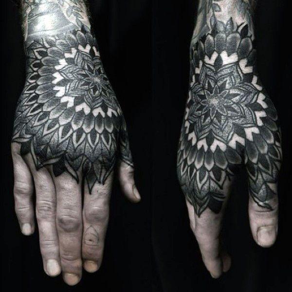 mandala geometric mens tattoos on hands mandala tattoo. Black Bedroom Furniture Sets. Home Design Ideas