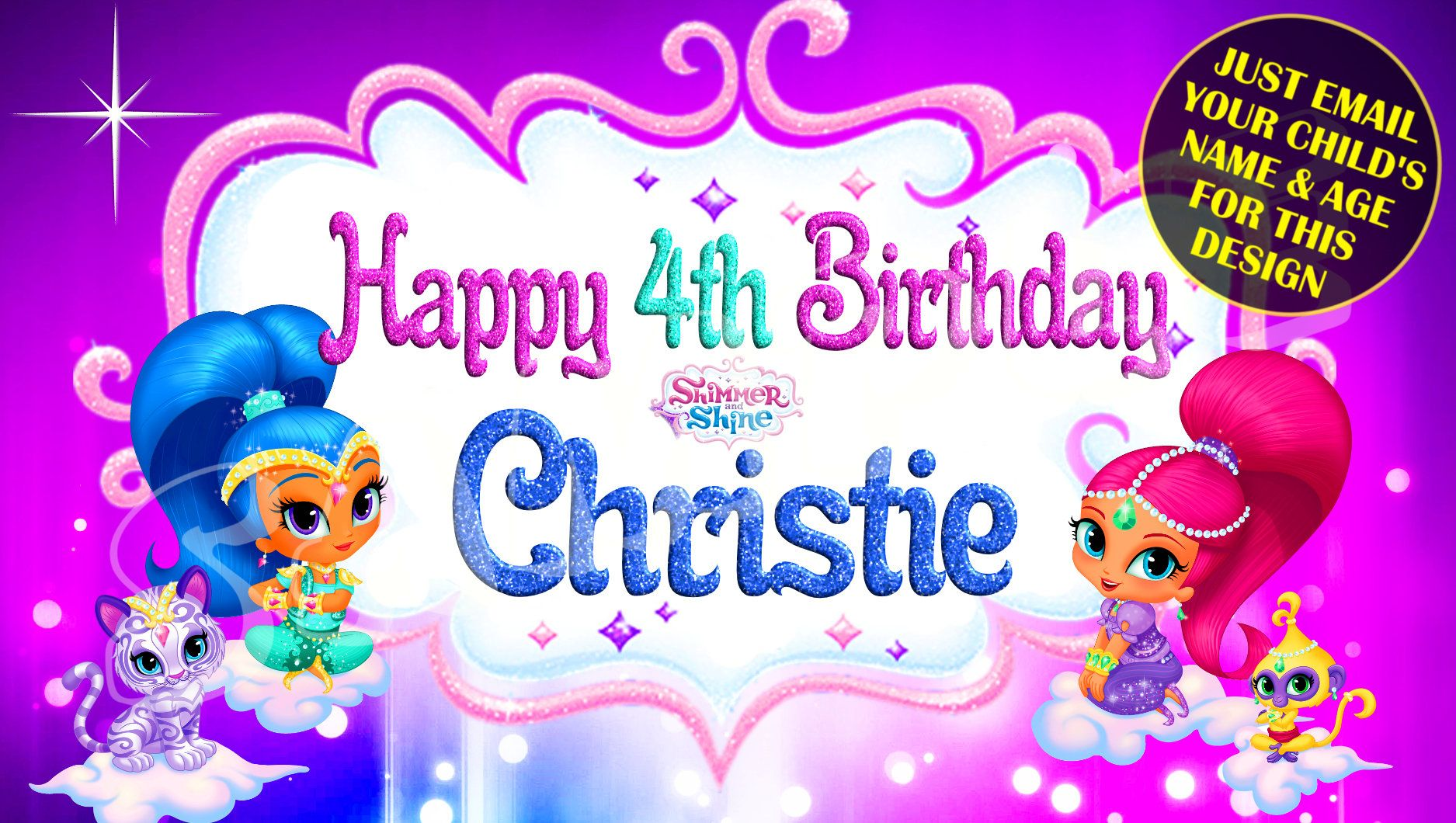 Shimmer And Shine Happy Birthday Banner Birthday Banner Etsy Personalized Birthday Banners Happy Birthday Banners Birthday Banner