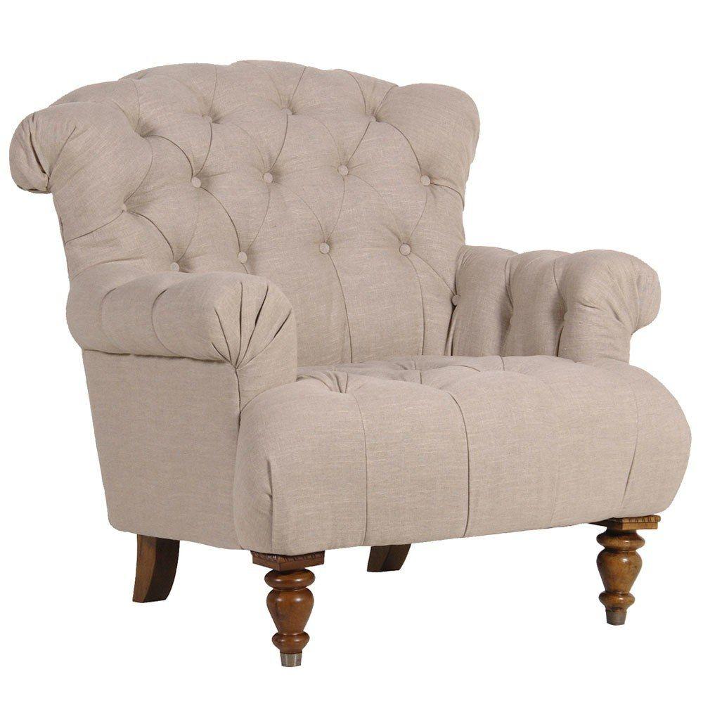 Marvelous Buttoned Linen Deep Armchair