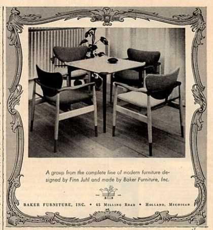 Vintage Furniture Ads of the 1950s . Baker Furniture Finn Juhl Chair Table  (1952) - Vintage Furniture Ads Of The 1950s . Baker Furniture Finn Juhl Chair