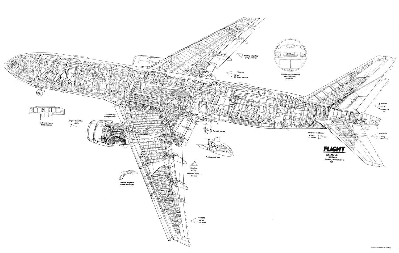 Boeing 777 200 Cutaway Drawing