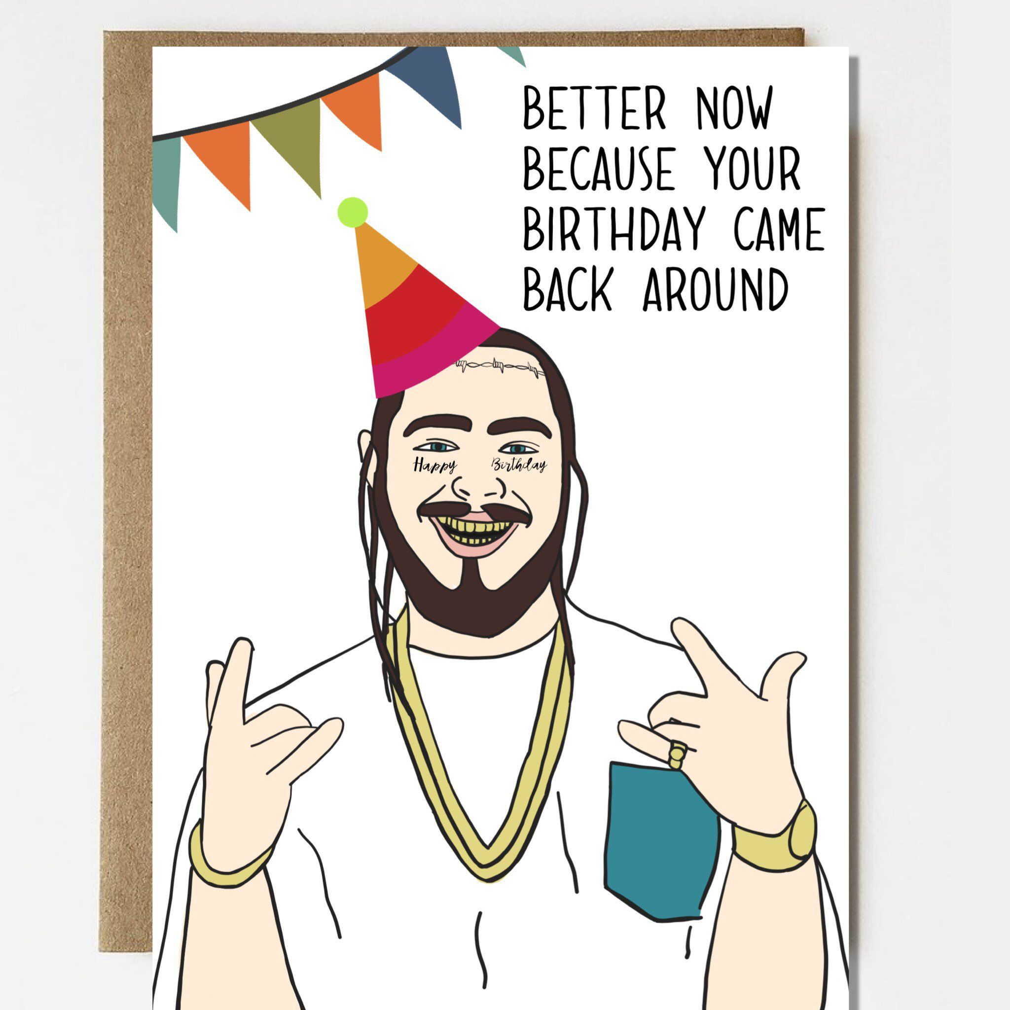 Post Malone Clip Art: Funny Post Malone Inspired Birthday Card