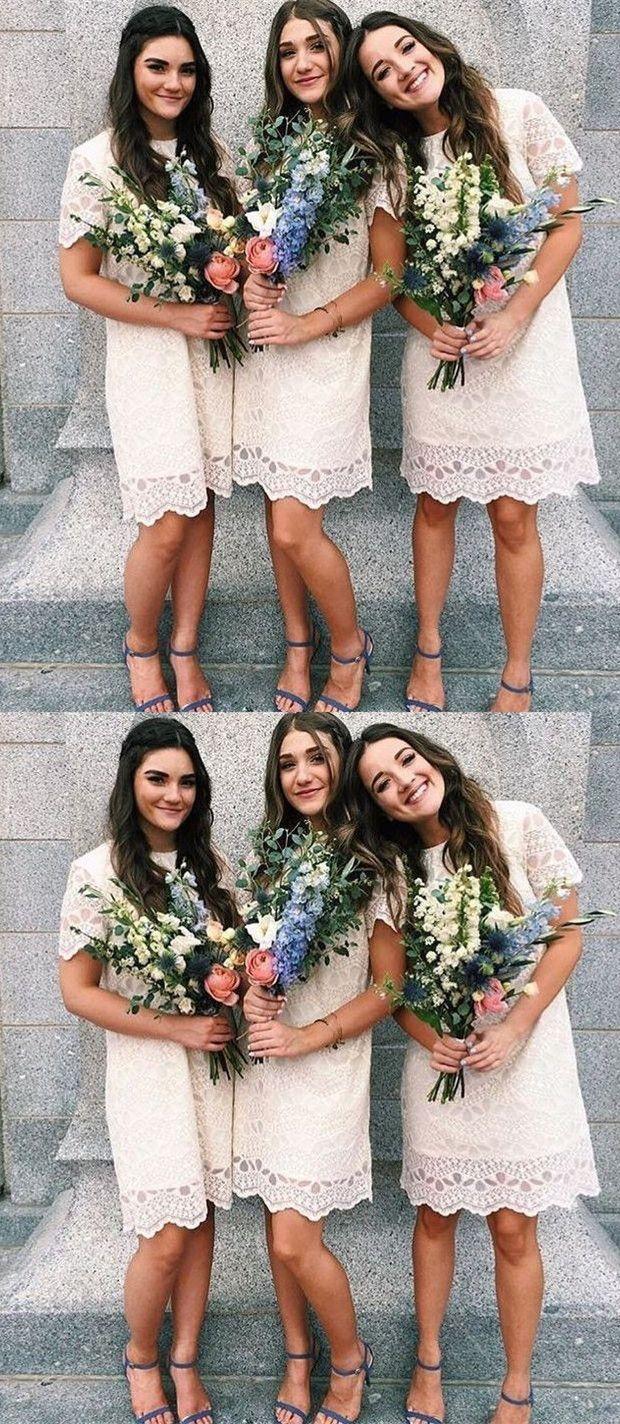 Sheath round neck above knee ivory lace bridesmaid dress with short