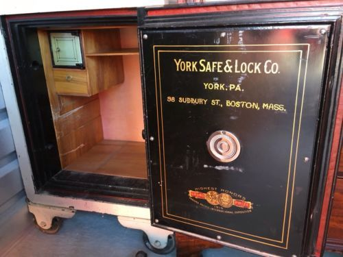 york safe. vintage antique floor york safe co. combination lock steel cast iron 0