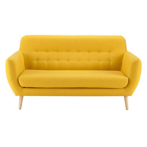 Divano vintage giallo in tessuto 2/3 posti