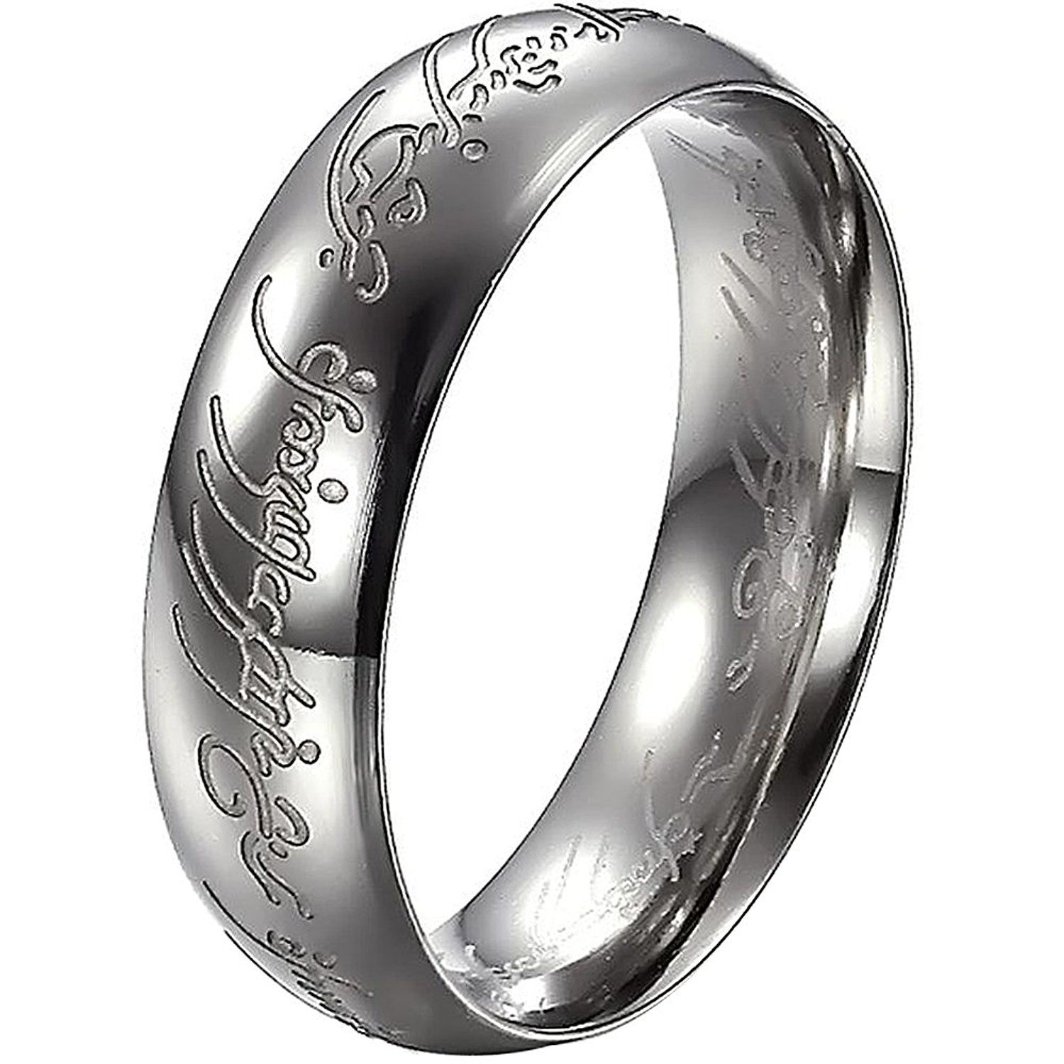 Bohg Jewelry Mens Womens Wide 6mm Lord Of The Rings Stainless Steel Love Engagement Wedding Band