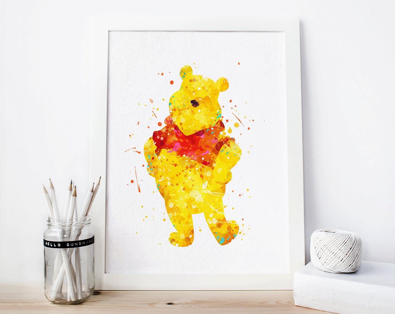 Winnie the Pooh Watercolor Art Print, Disney Watercolor Poster, Pooh ...