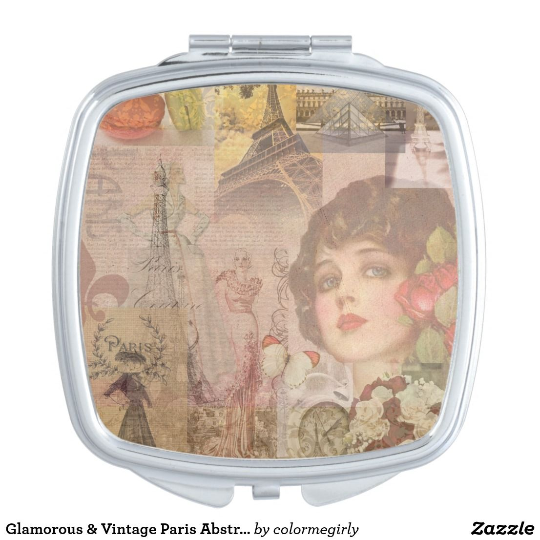 Glamorous & Vintage Paris Abstract Collage Mirror For Makeup - glamorous, vintage, paris, collage, eiffel tower, flapper, french, france, europe, retro