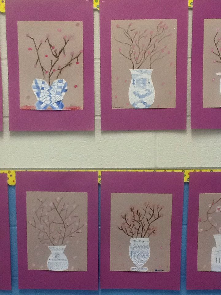 Ancient China Ming porcelain third grade art project.