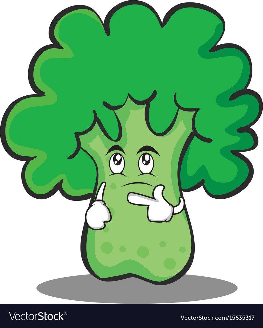 thinking broccoli chracter cartoon style vector image on vectorstock in 2020 cartoon styles cartoon vector illustration pinterest