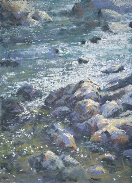 Sun Dance Summer by Sharon Bamber, 9 x 12 pastel painting of water and rocks