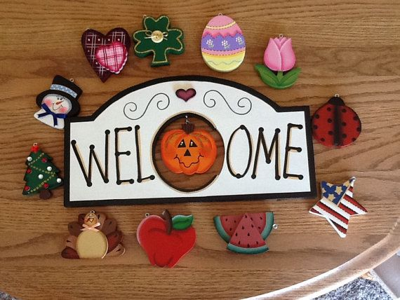Monthly Interchangeable Wooden Welcome Sign Wooden Welcome Signs Crafts Holiday Crafts