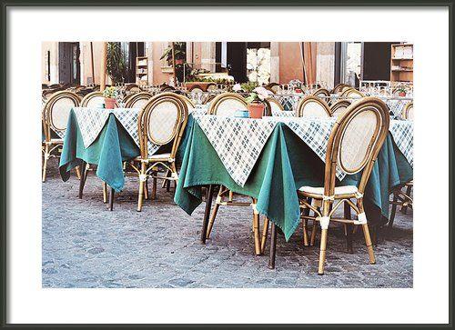 Outdoor Restaurant Cafe In Piazza Navona Framed Print By Angela Bonilla.  Italian restaurants, travel photography.  Italy travel.