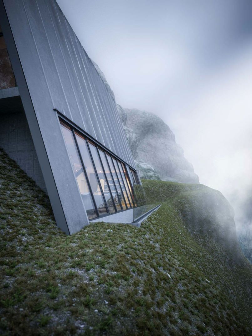 Check out this this triangular home located at the edge of a cliff ...