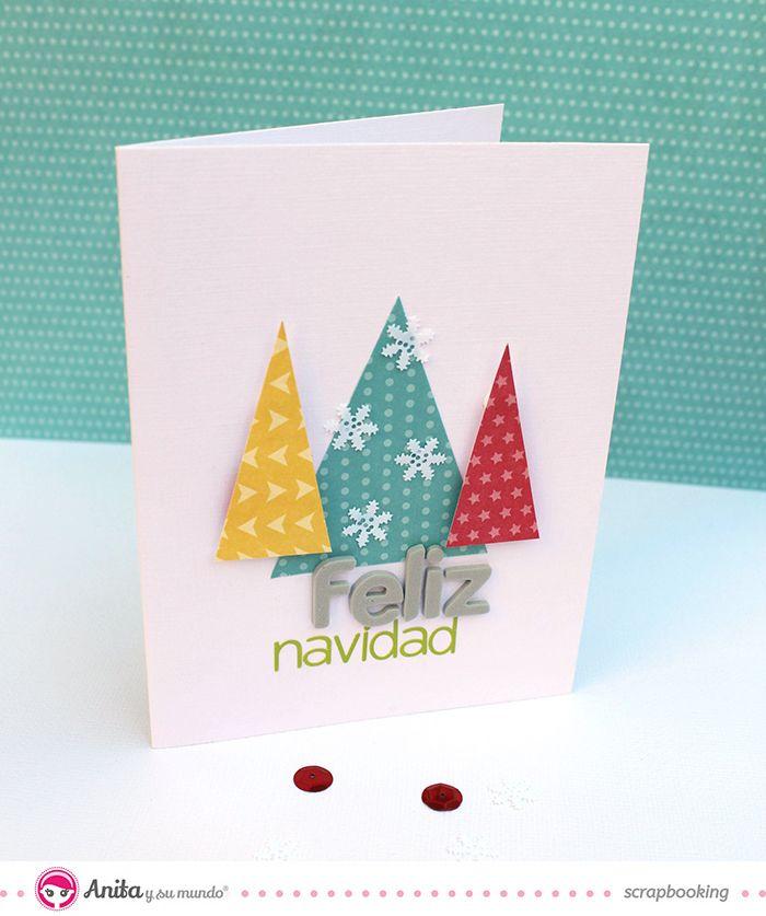 Tarjeta de navidad hecha con papeles de anita y su mundo - Manualidades tarjeta navidena ...