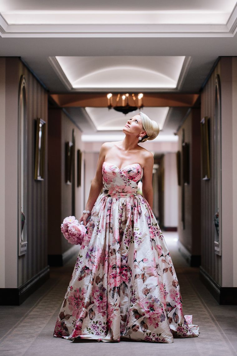 Floral print wedding dresses  Incredible pink and pastel floral print wedding dress unique