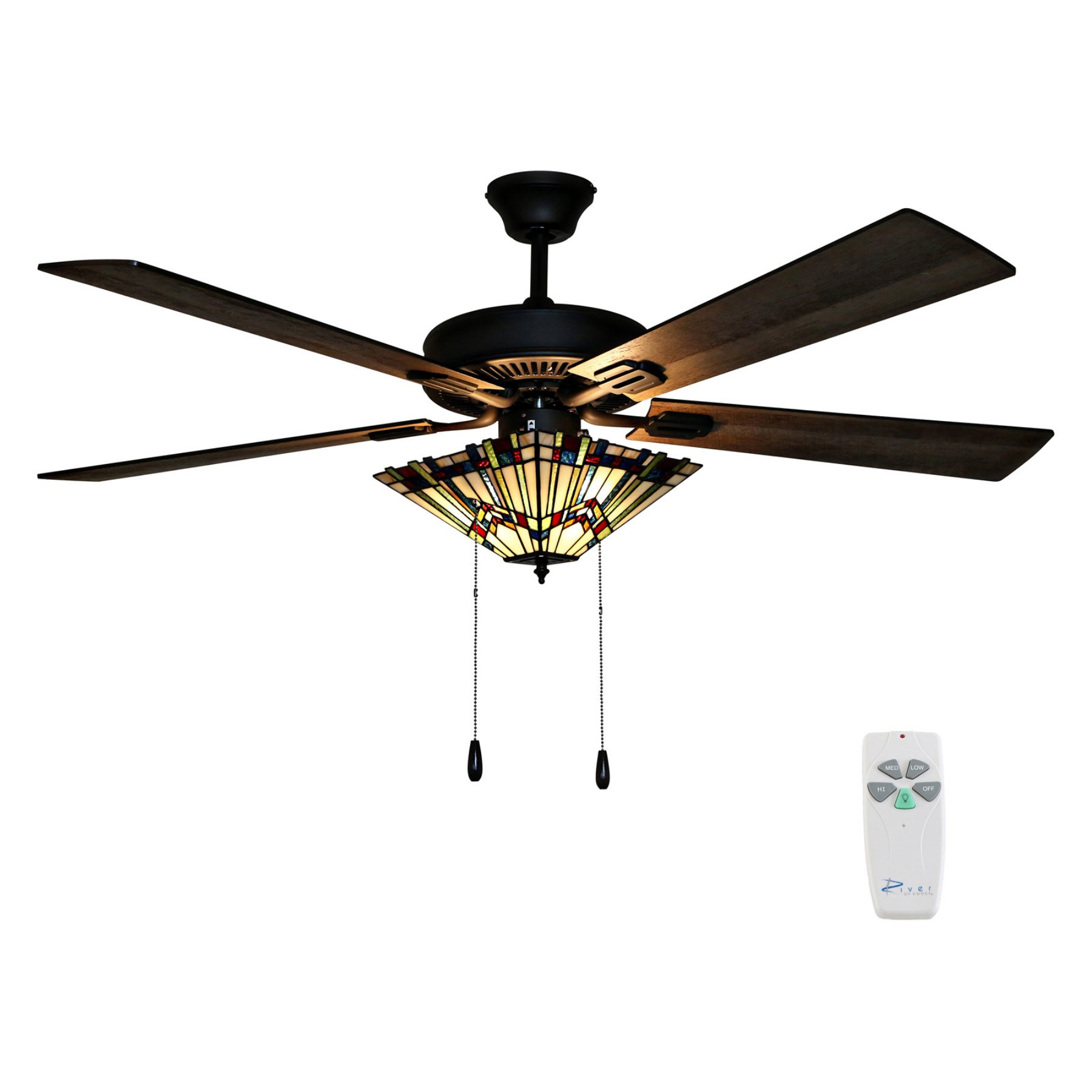 River Of Goods Orson 52 In Craftsman Stained Glass Indoor Ceiling Fan With Light Ceiling Fan With Light Ceiling Fan Craftsman Ceiling Fans