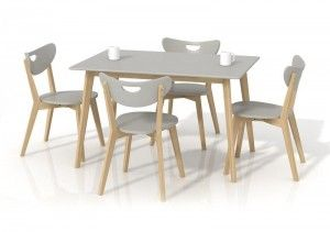 Masa din lemn si MDF Lorrita Grey, L120xl80xh73 cm