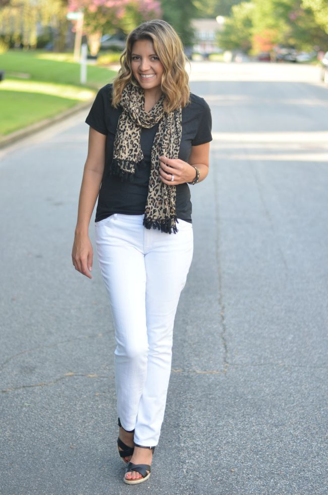 leopard print scarf for summer with white jeans via @fizzandfrosting