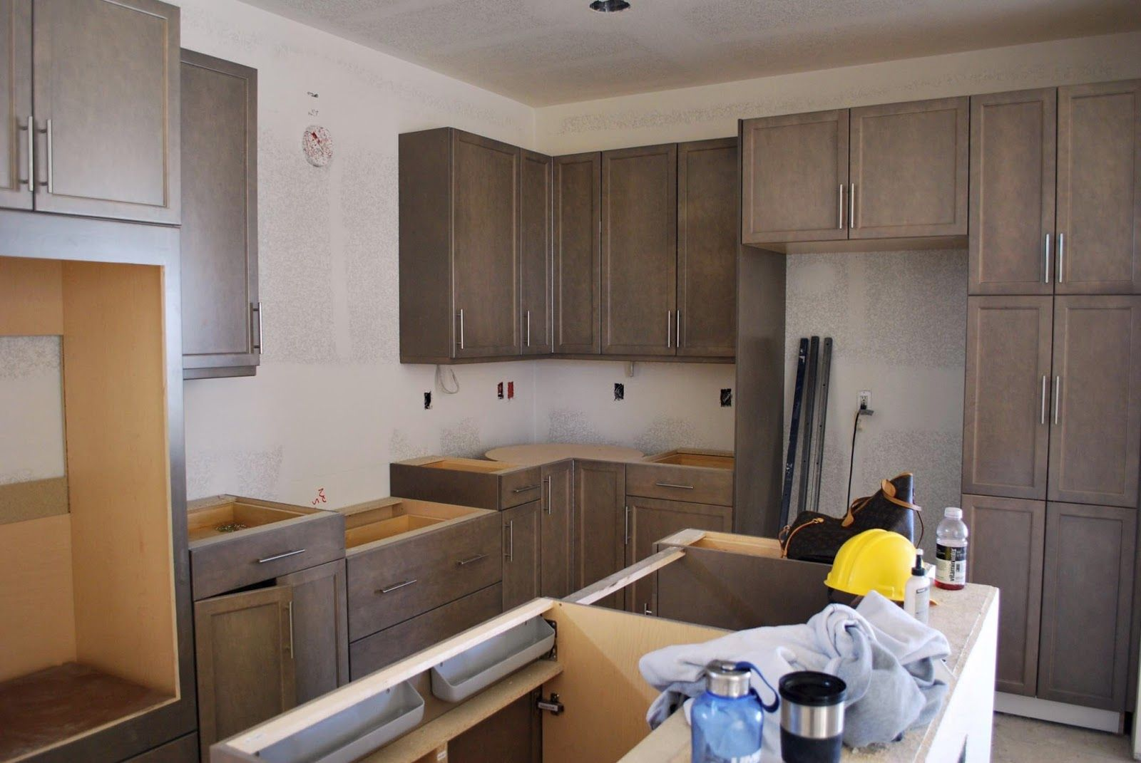 grey washed maple cabinets  cool hardware  Kitchens in