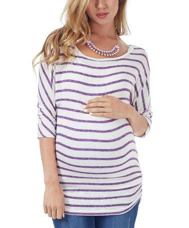 Look at this #zulilyfind! Purple & White Stripe Knit Sleeve Maternity Dolman Top - Women by PinkBlush Maternity #zulilyfinds