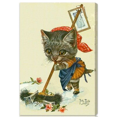 "Oliver Gal ""Kitty Cleaning Up"" by Olivia's Easel Canvas Art Size: 30"" H x 20"" W x 1.5"" D"