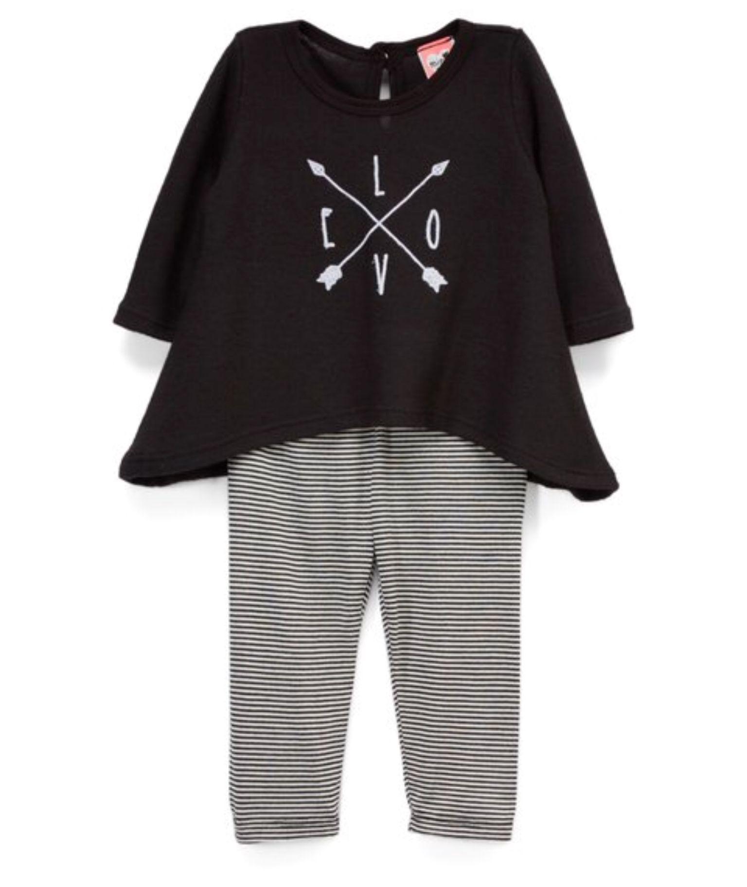 mini mini Black & White Baby Chic Top & Leggings Infant & Toddler