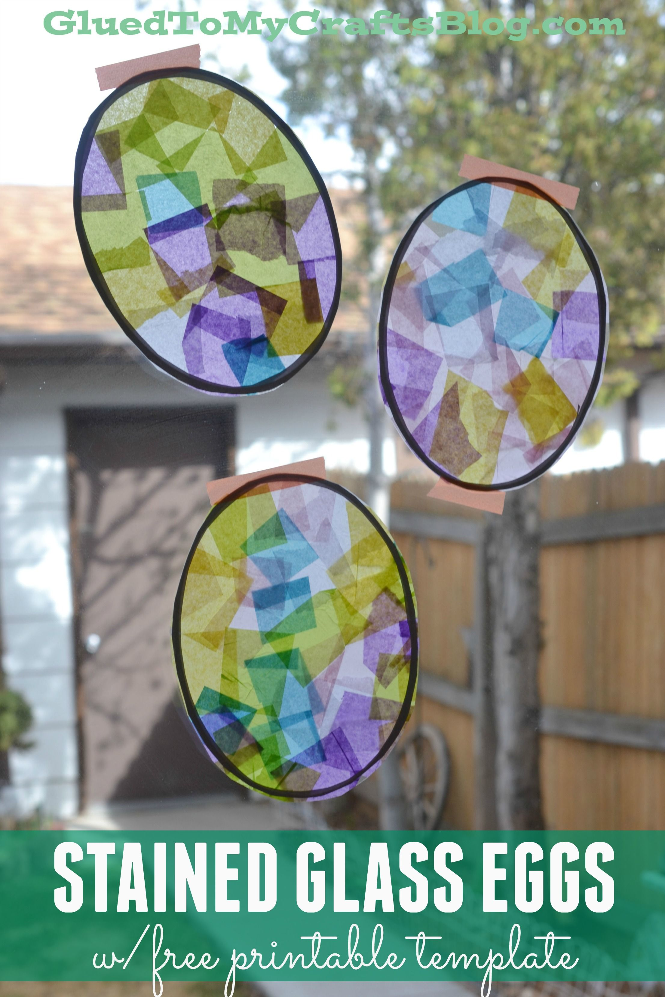Stained Glass Eggs w/free printable template | Free printable ...