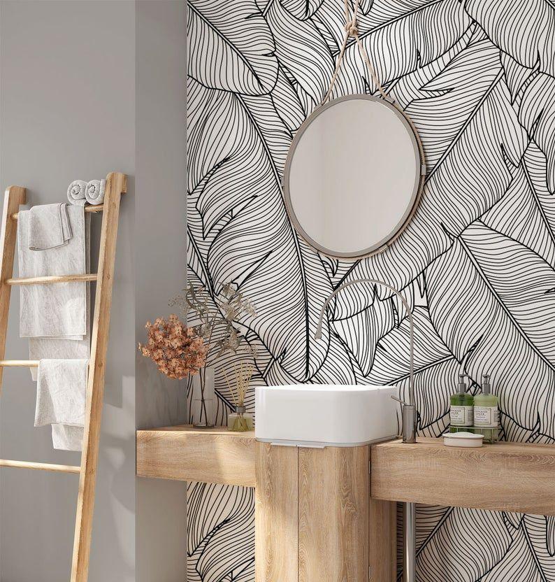 Tropical Removable Wallpaper Banana Leaves Wallpaper Modern Etsy Modern Wallpaper Removable Wallpaper Bathroom Wallpaper