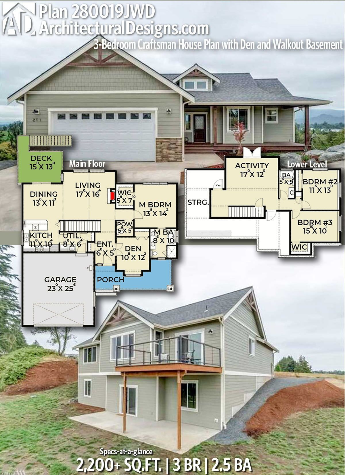 17 Surprising Cottage Home Plans Walkout Basement To Make Your Home Plans Beautiful Basement House Plans Craftsman House Craftsman House Plans