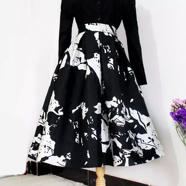 Spring Slim High Waist Big Umbrella Skirt Medium Long Black And White Flower Full Print Half Length Skirts Womens Red Green Inskirts From Women S Clothing Ac