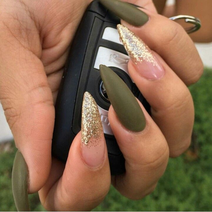 Matte olive green with gold glitter - Matte Olive Green With Gold Glitter Nails Pinterest Gold